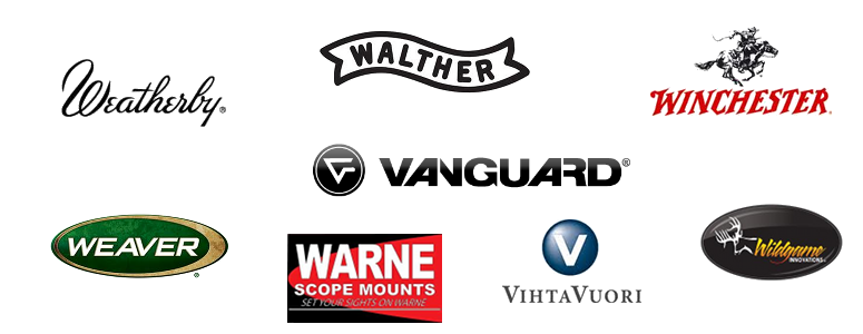 Vanguard, Vihtavuori, Walther, Warne, Weatherby, Weaver, Wildgame, Winchester